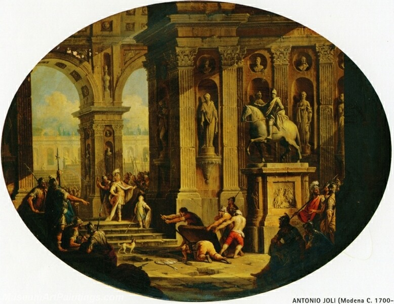 A Capriccio of a Classical Palace with Alexander at the Tomb of Achilles Painting