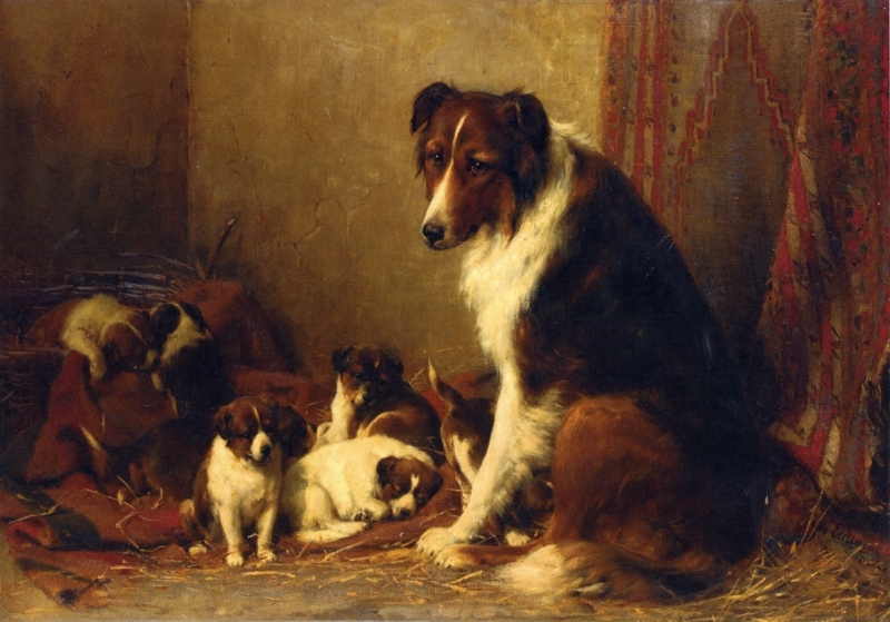 A Collie and Her Puppies by Otto Eerelman