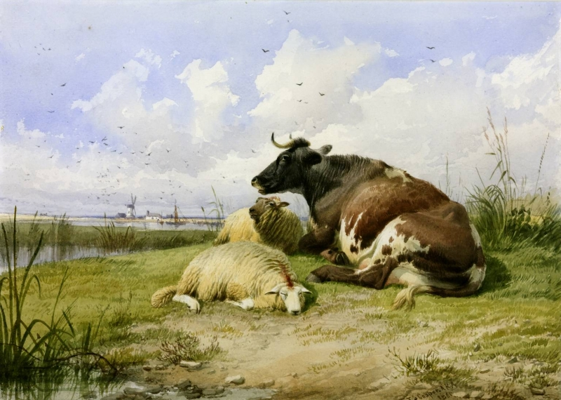A Cow and Two Sheep by Thomas Sidney Cooper