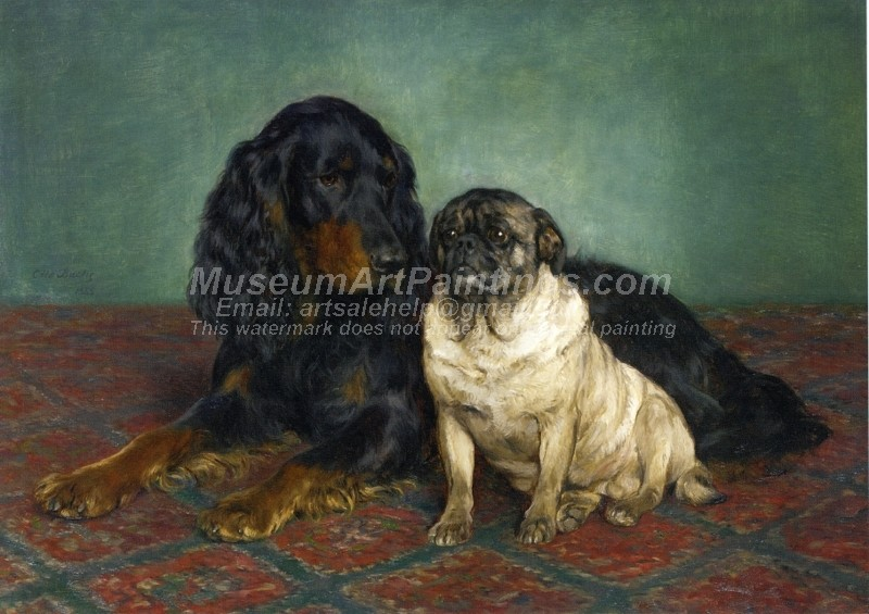 A Gordon Setter and a Pug by Otto Bache