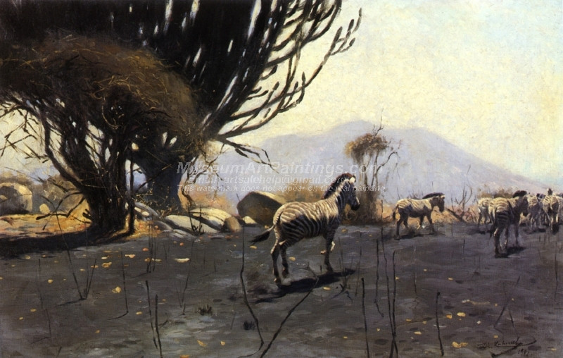 A Herd of Zebras by Wilhelm Kuhnert
