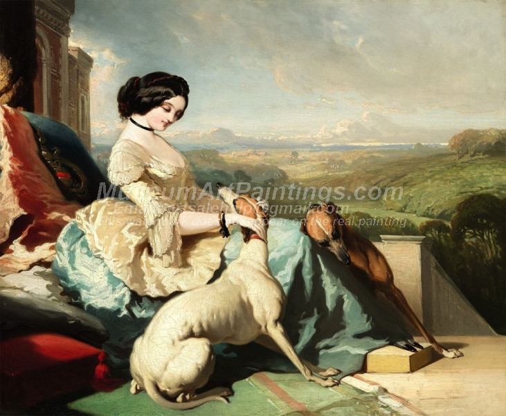 A Lady Sitting with two Greyhounds by Alfred de Dreux