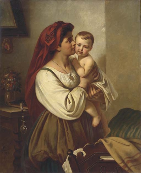 A Mothers Kiss by Carl Adolf Gugel