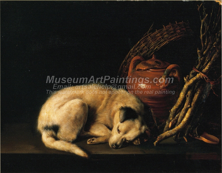 A Sleeping Dog Beside a Terracotta Jug by Gerrit Dou