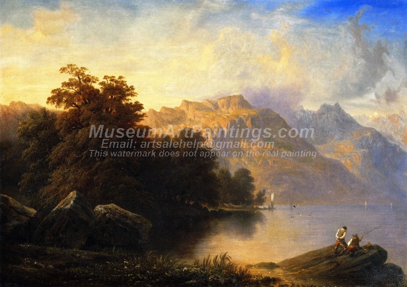 A Swiss Lake Scene by Francois Diday