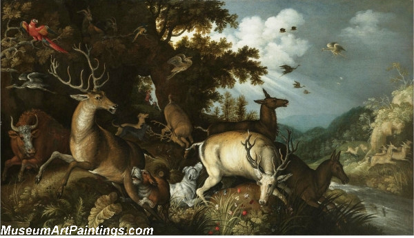 A wooded river lanscape with stags chased by huntsmen and their dogs