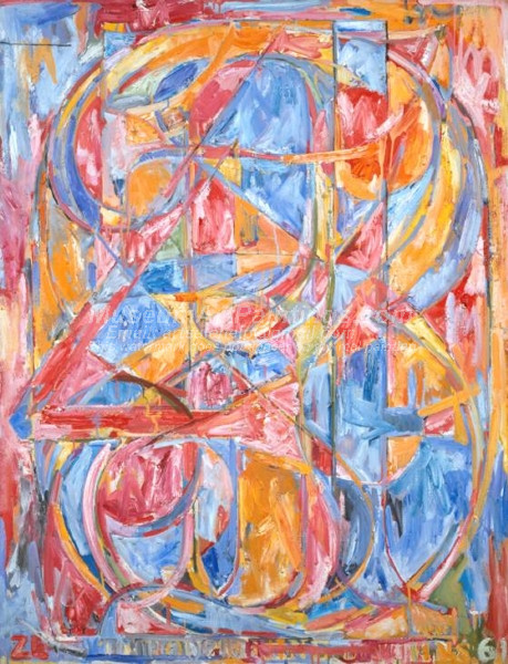 Abstract Oil Painting 0 through 9 by Jasper Johns