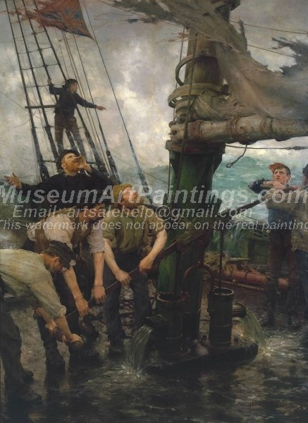 All Hands to the Pumps Painting by Henry Scott Tuke