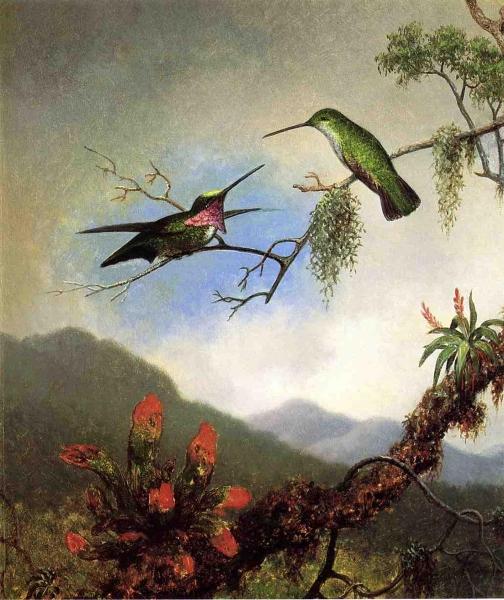 Amethyst Hummingbirds by Martin Johnson Heade