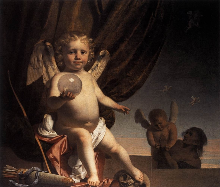 Amor Holding a Glass Orb by Caesar van Everdingen