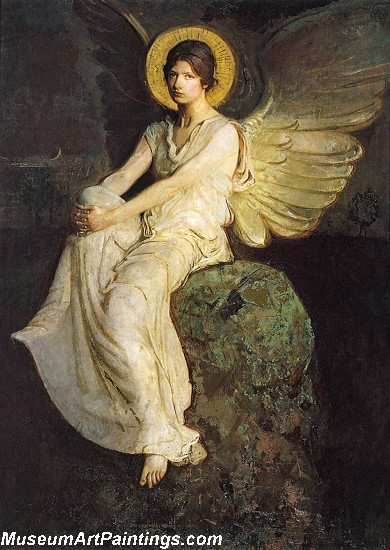 Angel Paintings Winged Figure Seated upon a Rock