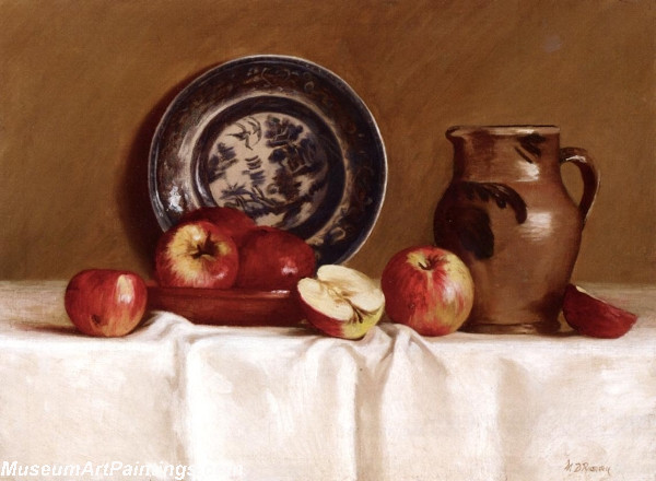 Apples Ming Plate and Earthenware Pitcher