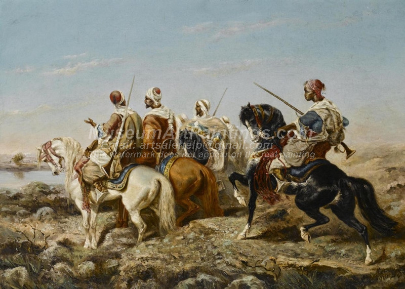 Arab Horsemen Approaching a River