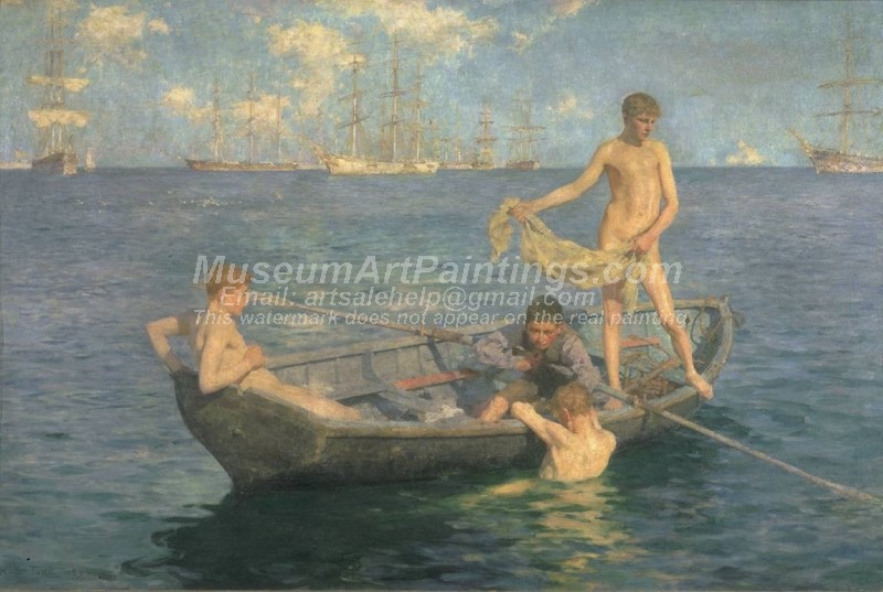 August Blue Painting by Henry Scott Tuke