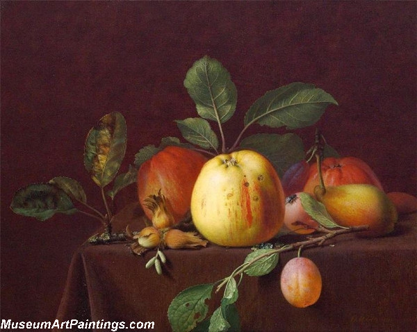 Autumn fruits and nuts on a table
