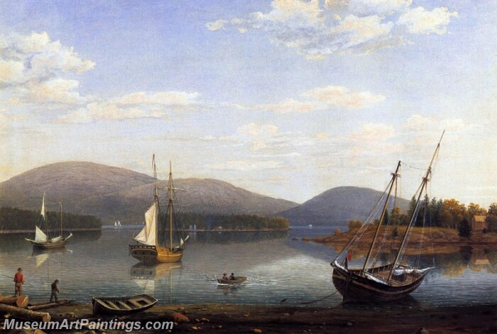 Bar Island and Mt Desert Mountains from Sommes Settlement Painting
