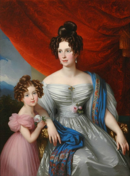 Baroness Joel von Joelson with daughter by Johann Nepomuk Ender