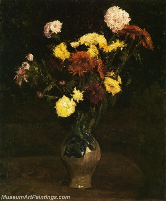 Basket of Carnations and Zinnias Painting
