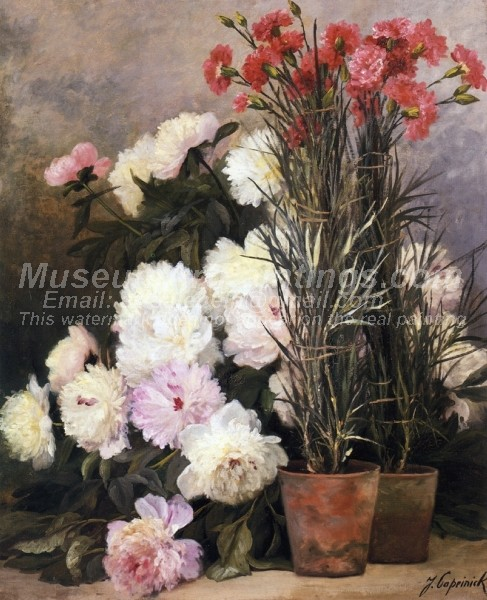 Beautiful Flower Paintings Peonies and Red Carnations