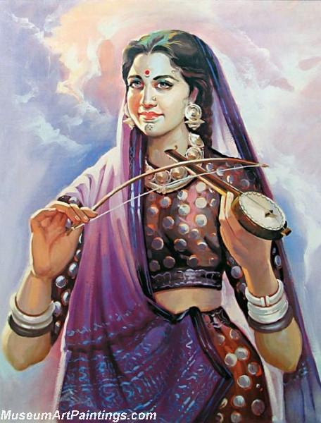 Indian Village Girl Paintings Innocence - 103.5KB