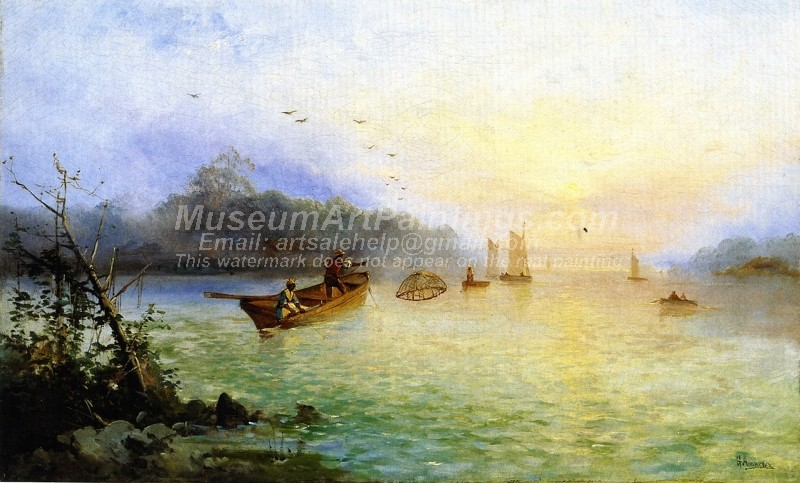 Beautiful Landscape Paintings Prawn Fishing