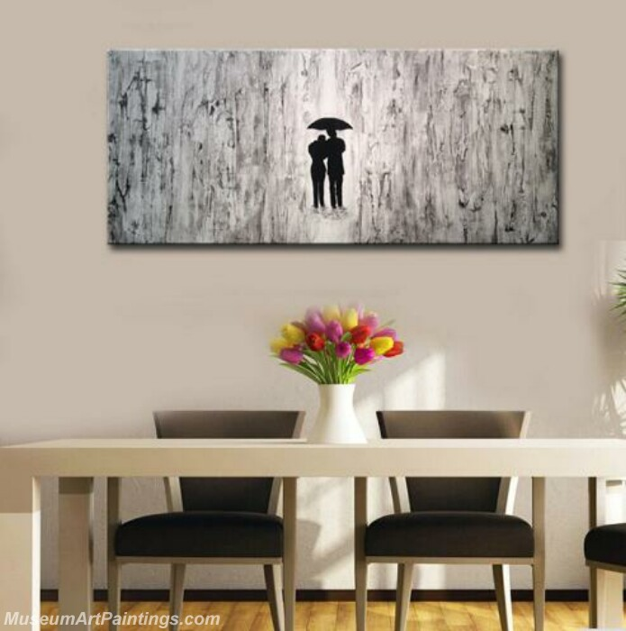 Black and White Abstract Paintings Modern Lovers with Umbrella for Living Room