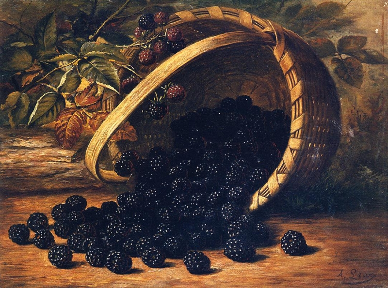 Blackberries in a Basket by August Laux