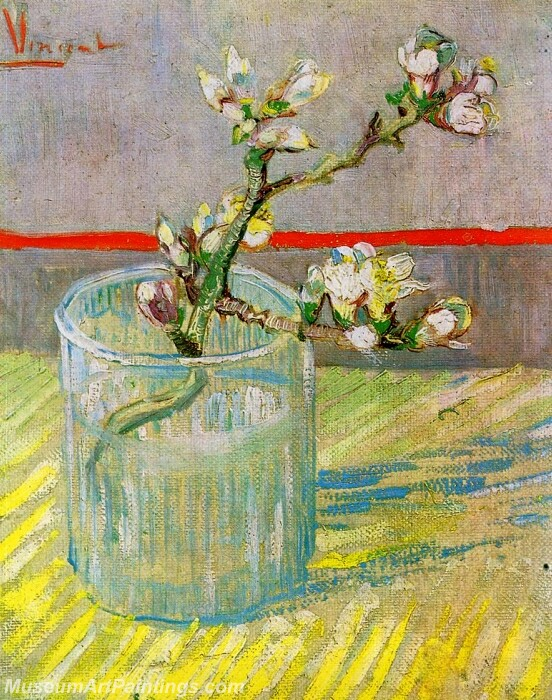 Blossoming Almond Branch in a Glass Painting