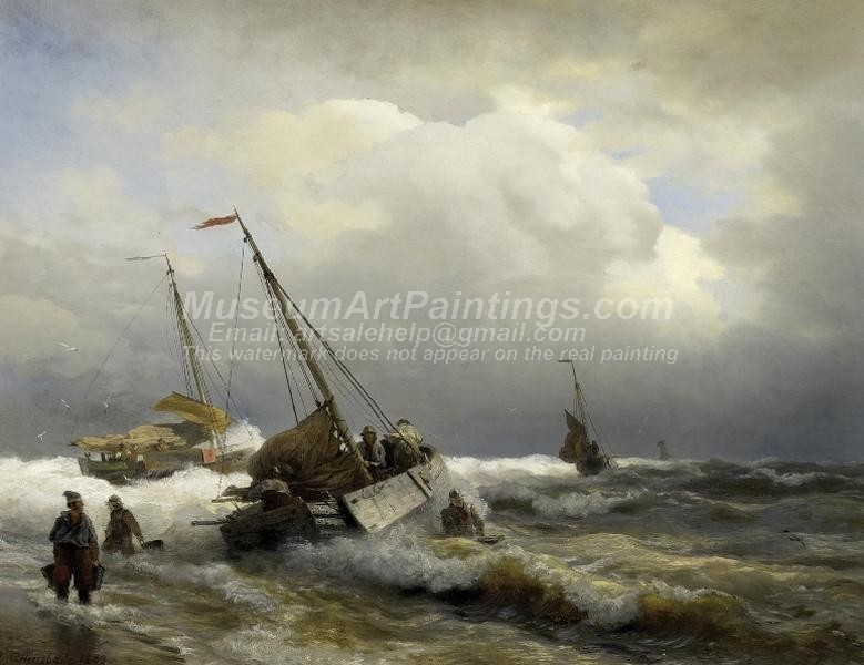Boat Oil Paitings Inshore Fishermen in Rough Sea