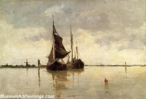 Boat Painting Harbor Scene Dordrecht