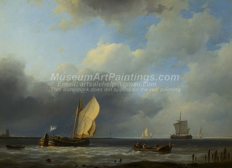 Boat Paintings Sea Piece a Threatening Sky