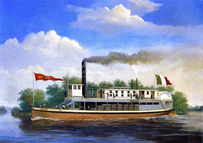 Boat Paintings The Steamboat Antonia on the Rio Grande