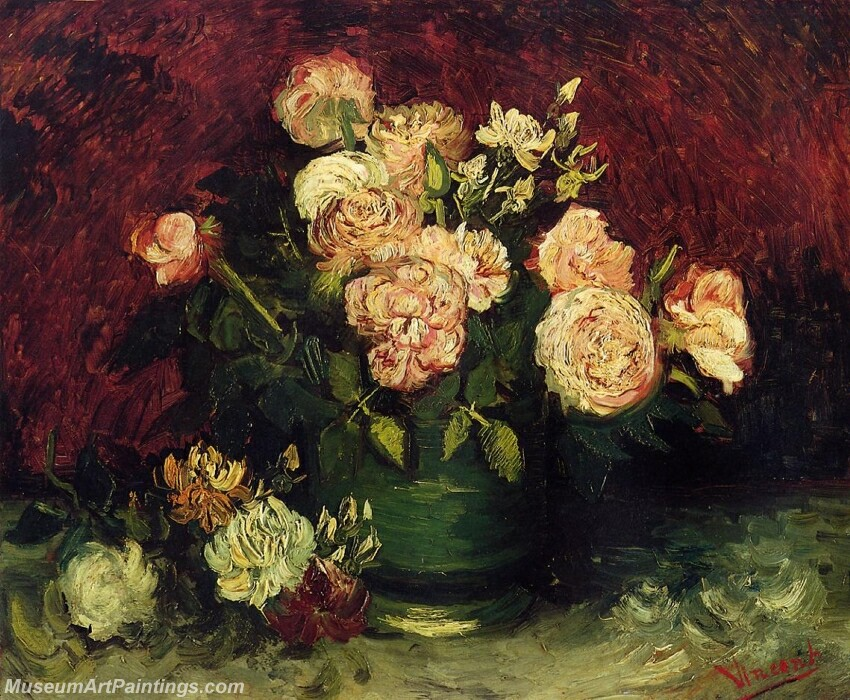 Bowl with Peonies and Roses Painting