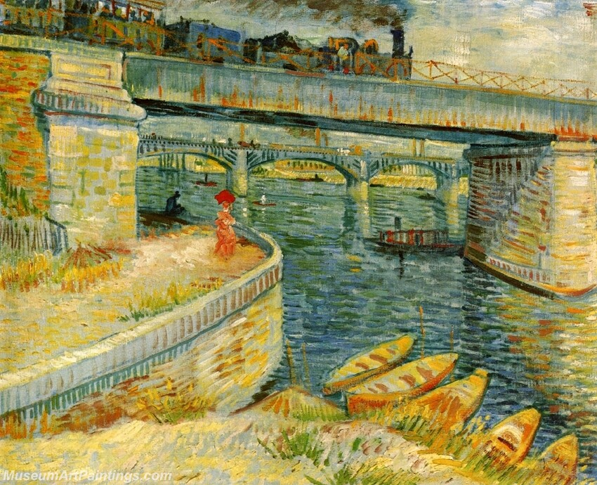 Bridges across the Seine at Asnieres Painting