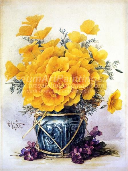 California Poppies in Chinese Vase by Paul De Longpre