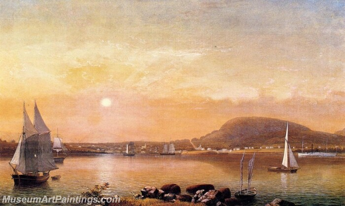 Camden Mountains and Harbor from the North Point of Negro Island Painting