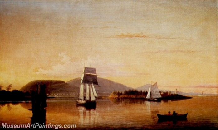 Camden Mountains from the South Entrance to Harbor Painting