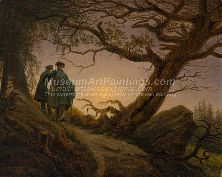 Caspar David Friedrich Painting Two Men Contemplating the Moon