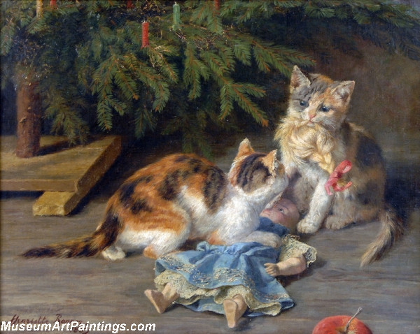 Cat Painting The Christmas Spat