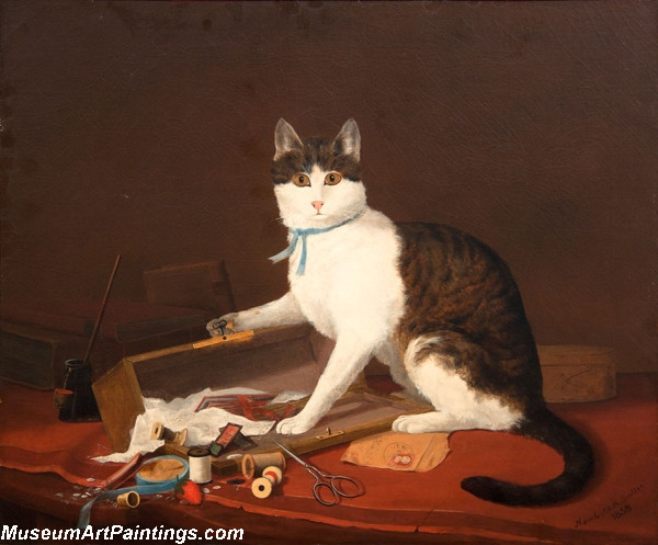 Cat Portrait Painting Mischief by Newbold Hough Trotter