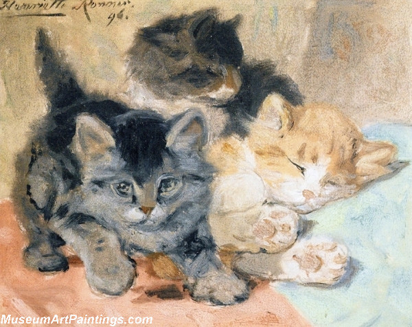 Cat Portrait Painting Three Kittens