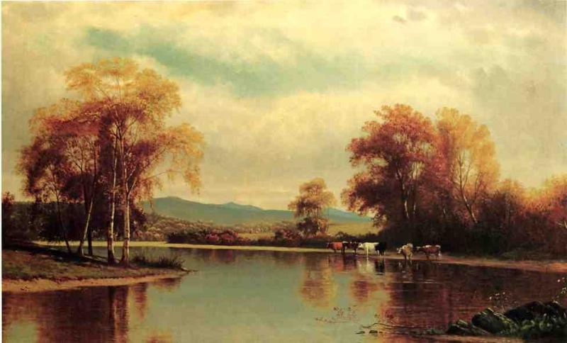 Cattle by a Stream by Clinton Loveridge