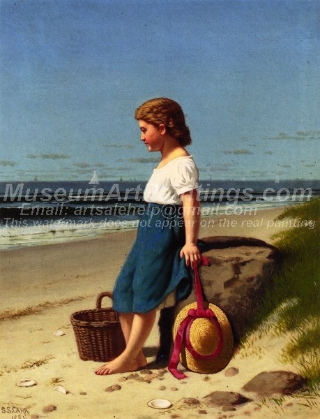 Children Paintings Young Girl at the Seashore