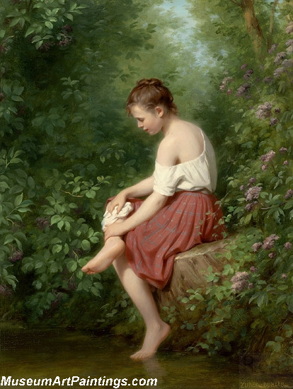 Children Paintings Young Girl by the Lake by Fritz Zuber Buhler