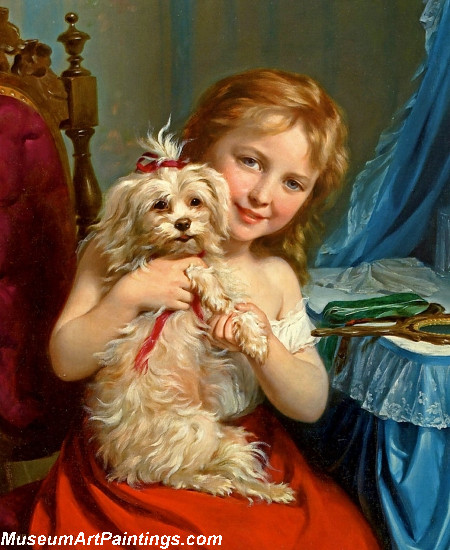 Children Paintings Young Girl with Bichon Frise