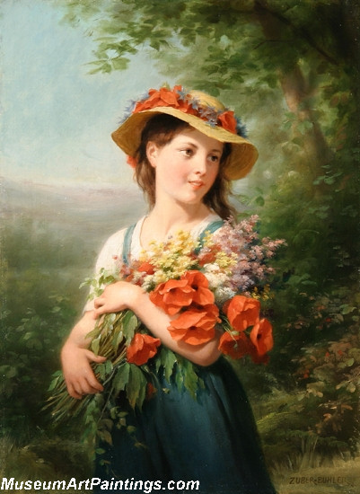 Children Paintings Young Girl with a Bouquet of Wildflowers