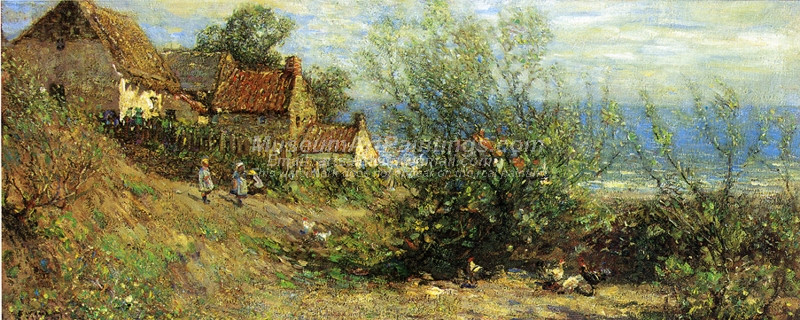Children Playing near a Cottage