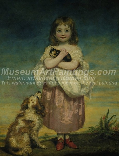 Childrens Paintings A Little Girl Nursing a Kitten