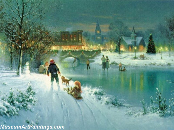 Christmas Painting Pulling the Sled Past the Frozen Lake
