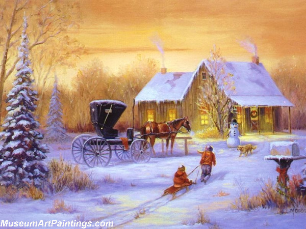 Christmas Painting Sleding Home to Snowman